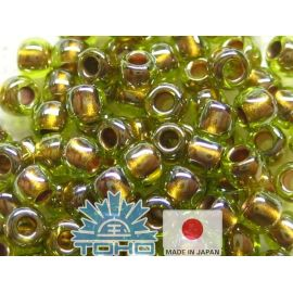 TOHO® Biseris Gold-Lined Peridot 11/0 (2,2 mm) 10 g.