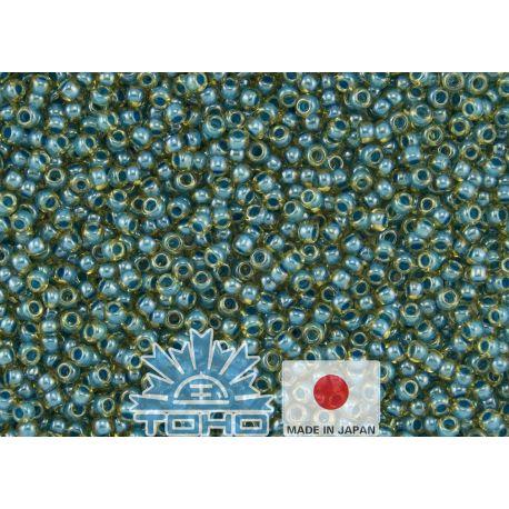TOHO® Biseris Inside-Color Jonquil/Turquoise-Lined 11/0 (2,2 mm) 10 g., 1 maišelis rakndarbiams geltonos spalvos