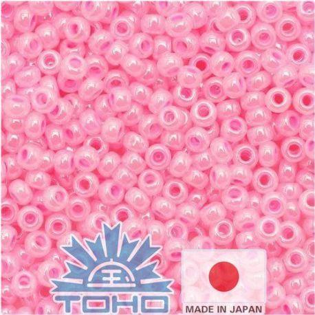 TOHO® Biseris Ceylon Cotton Candy 11/0 (2,2 mm) 10 g., 1 maišelis rakndarbiams ryškiai rožinės spalvos