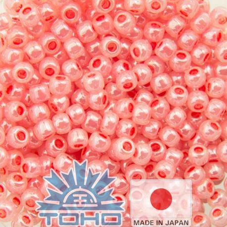 TOHO® Biseris Ceylon Tomato Soup 11/0 (2,2 mm) 10 g., 1 maišelis rakndarbiams rožinės spalvos