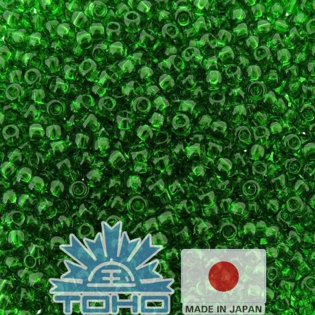 TOHO® Biseris Transparent Grass Green 11/0 (2,2 mm) 10 g., 1 maišelis rakndarbiams žalios spalvos