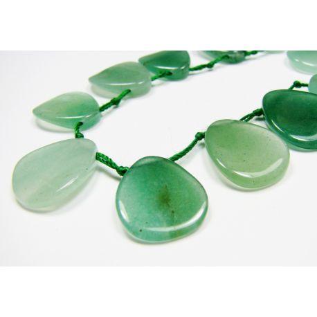 Avantiurino karoliukai žalios spalvos, plokščios lašo formos, horizontalaus vėrimo, 18x14 mm