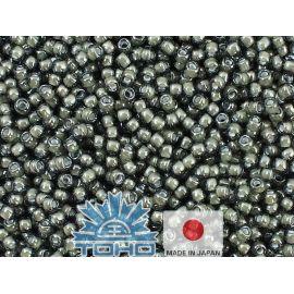 TOHO® Biseris Inside-Color Black Diamond/White-Lined 11/0 (2,2 mm) 10 g., 1 maišelis