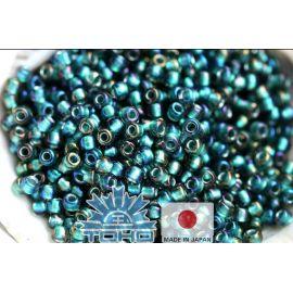 TOHO® Biseris Inside-Color Crystal/Metallic Teal-Lined 11/0 (2,2 mm) 10 g.