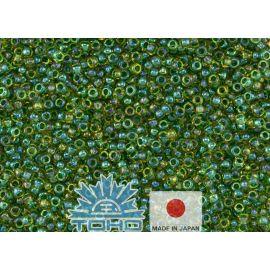 TOHO® Biseris Inside-Color Luster Jonquil/Emerald-Lined 11/0 (2,2 mm) 10 g., 1 maišelis rakndarbiams geltonos spalvos