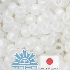 TOHO® Biseris Transparent-Rainbow-Frosted Crystal 11/0 (2,2 mm) 10 g., 1 maišelis rakndarbiams baltos spalvos