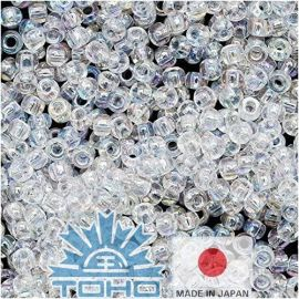 TOHO® Biseris Transparent-Rainbow Crystal 11/0 (2,2 mm) 10 g., 1 maišelis rakndarbiams baltos spalvos