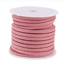 Zomšinė juostelė ~5 metrus, 1 ritė rakndarbiams rožinės spalvos