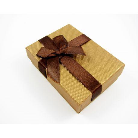 Dovanų dėžutė, kartoninė, rudos blizgios spalvos 90x65 mm