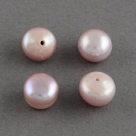 Semi-drilled freshwater pearls, 1 pair of key-pink light pink-lilac