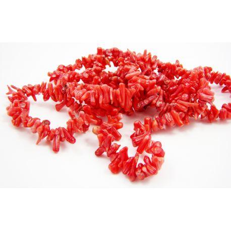 Koralo skaldos gija raudonos spalvos 5 - 13mm gijos ilgis 60 cm