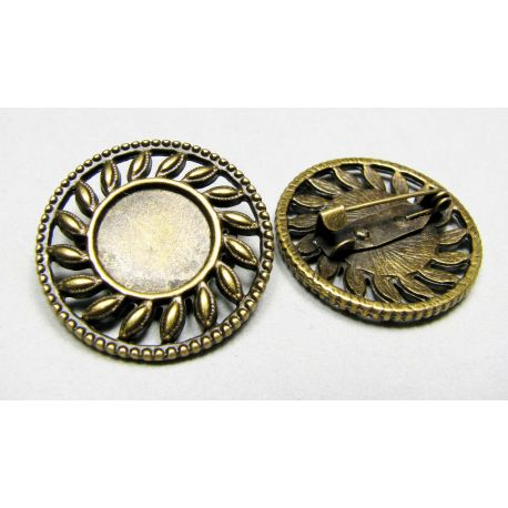 Pagrindas sagei, sendintos bronzinės spalvos, galima įklijuoti kabošoną 13mm, sagės dydis - 29 mm