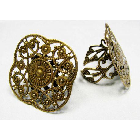 Žiedo pagrindas su ažūrine plokštele, sendintos bronzinės spalvos, 29 mm