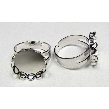 Žiedo pagrindas kamėjai 15 mm, sidabro spalvos, reguliuojamas dydis