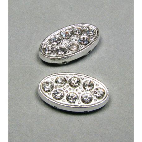 Intarpas, sidabro spalvos inkrustuotas baltos spalvos akutėmis 20x10 mm