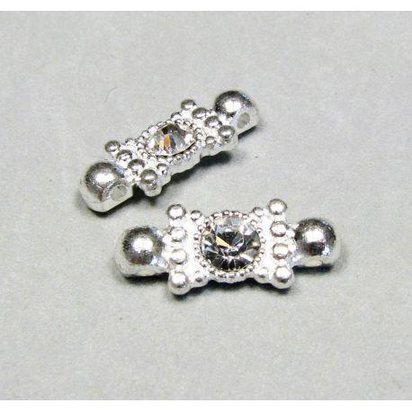 Intarpas, skirtas papuošalų gamybai, sidabro spalvos inkrustuotas baltos spalvos akutėmis, dydis 19x8 mm
