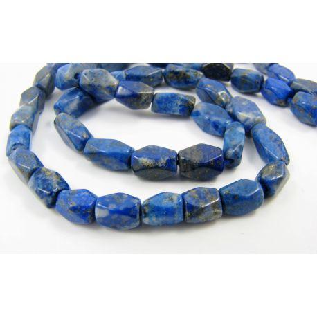 Natūralūs Lapis Lazuli karoliukai, mėlynos spalvos, su Pirito dulkėmis, vamzdelio formos 5-9x4 mm