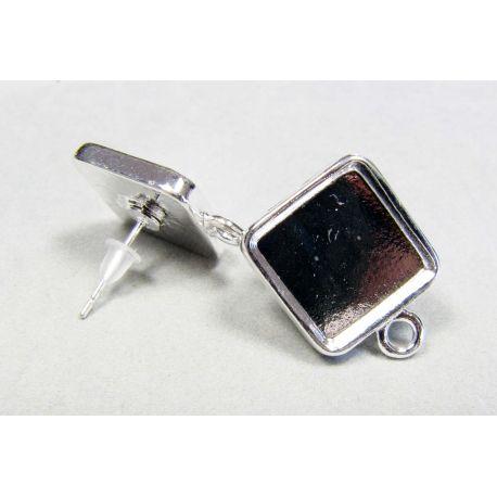Kabliukai skirti auskarų gamybai, galima įdėti kabošoną ar akmenį, sidabro spalvos 19x15 mm