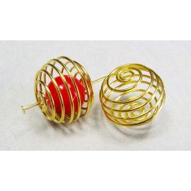 Intarpas skirtas papuošalų gamybai, aukso spalvos apvalios formos 20 mm 4 vnt.