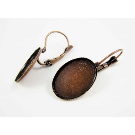 Kabliukai skirti auskarų gamybai, žalvariniai, galima įklijuoti kabošoną, 32x14 mm
