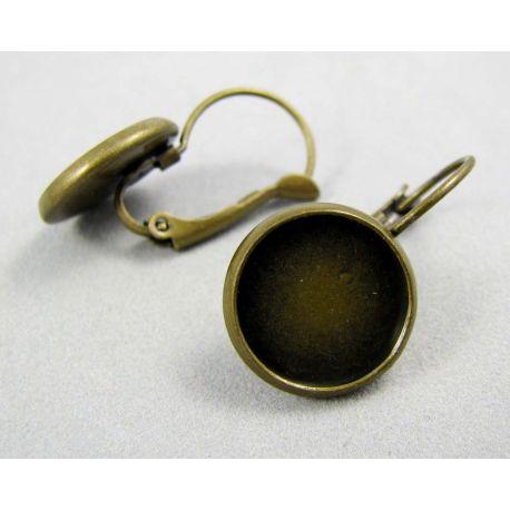 Kabliukai skirti auskarų gamybai, žalvariniai, sendintos bronzinės spalvos, galima įklijuoti kabošoną 12 mm, kabliukų dydis 25x1