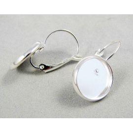 Kabliukai skirti auskarų gamybai, žalvariniai, sidabro spalvos, galima įklijuoti kabošoną 12 mm, kabliukų dydis 25x14 mm