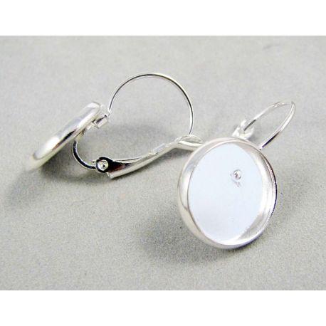 Kabliukai skirti auskarų gamybai, žalvariniai, sidabro spalvos, galima įklijuoti kabošoną, 12 mm