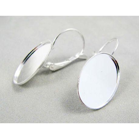 Kabliukai skirti auskarų gamybai, žalvariniai, sidabro spalvos, galima įklijuoti kabošoną 17x12 mm, kabliukų dydis 18x11 mm