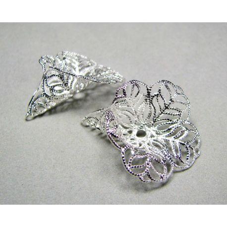 Kepurėlė skirta papuošalų gamybai sidabro spalvos 28x24 mm