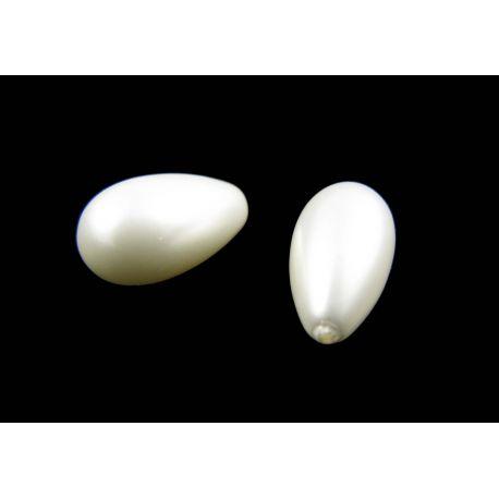 SHELL perlų pusiau gręžti karoliukai, baltos spalvos, lašo formos, 15x9 mm dydžio