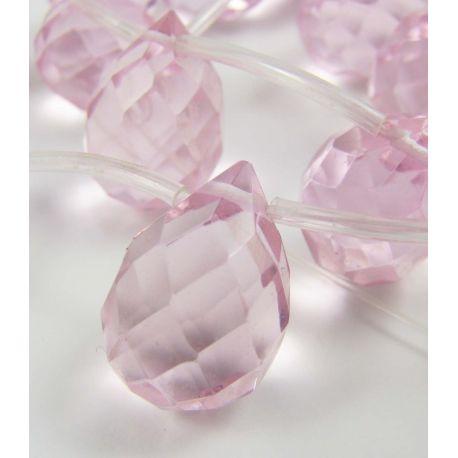 Rožinio kvarco karoliukai, rožinės spalvos, briaunuoti, horizontalaus vėrimo, lašo formos 17x12 mm