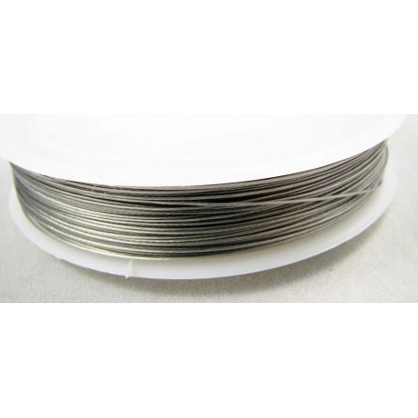 Troselis skirtas vėrti: karoliukus, perlus, akmenis, tamsios sidabro spalvos, 0.50 mm , ~35 metrai, 1 ritė.