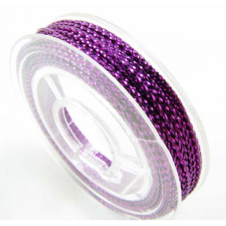 Metalizuotas siūlas papuošalams, violetinės spalvos, 0.6 mm storio, 10 metrų
