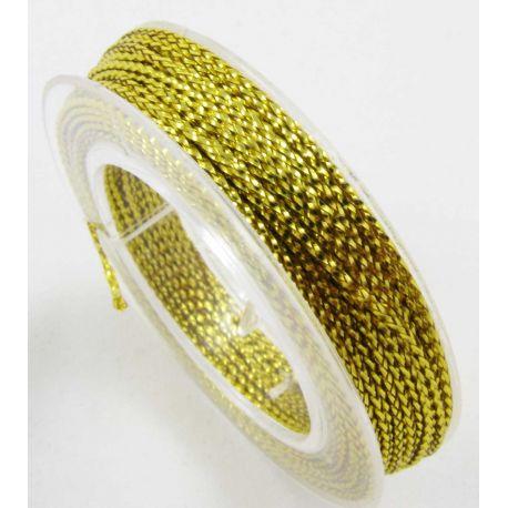 Metalizuotas siūlas papuošalams, geltonos spalvos, 0.6 mm storio, 10 metrų