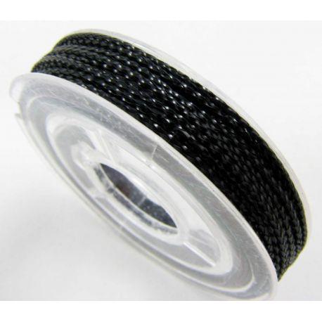 Metalizuotas siūlas papuošalams, juodos spalvos, 0.6 mm storio, 10 metrų