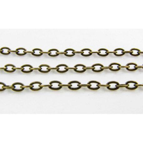 Grandinėlė bronzinės spalvos, pakabukams, rankdarbiams, papuošalams 4x3 mm, 10 cm ilgio