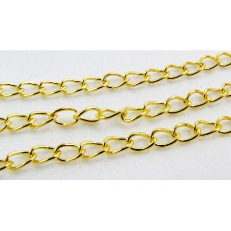 Grandinėlė aukso spalvos, pakabukams, rankdarbiams, papuošalams 5,5x3,5 mm, 10 cm ilgio