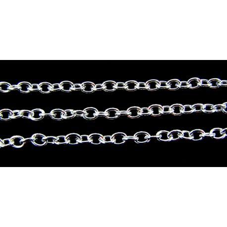 Grandinėlė sidabro spalvos, pakabukams, rankdarbiams, papuošalams 3,5x2,5 mm, 10 cm ilgio