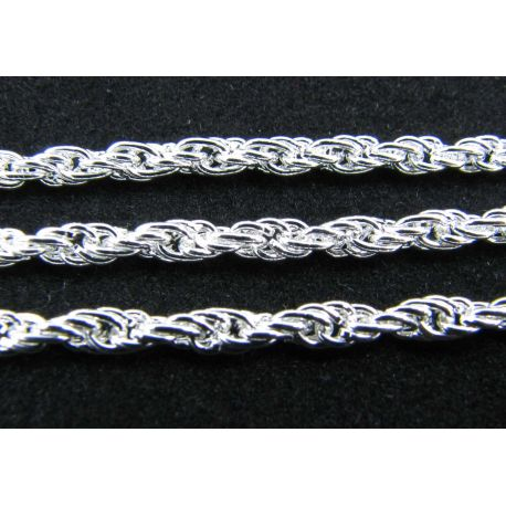 Grandinėlė sidabro spalvos, pakabukams, rankdarbiams, papuošalams 3x0,6 mm, 10 cm ilgio