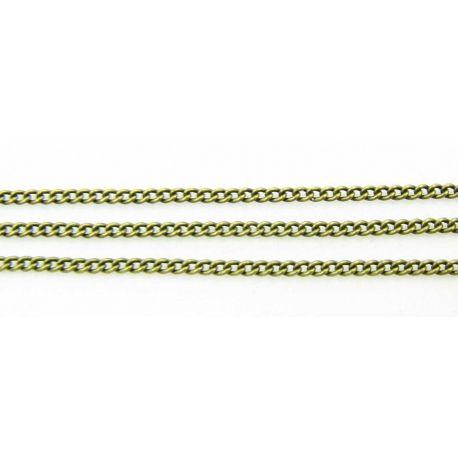 Grandinėlė sendintos bronzinės spalvos, pakabukams, rankdarbiams, papuošalams 2x1,5 mm, 10 cm ilgio