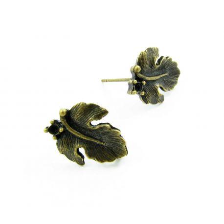 Kabliukai skirti auskarų gamybai, sendintos bronzinės spalvos, lapo formos, 16x13 mm, 1 pora