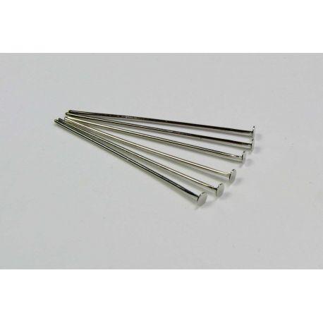 Smeigtukai variniai skirti papuošalų gamybai nikelio spalvos plokščia galvute 30x0,6 mm