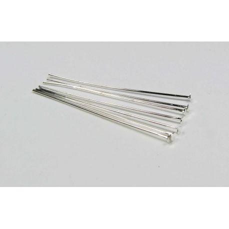 Smeigtukai variniai skirti papuošalų gamybai sidabro spalvos plokščia galvute 28x0,5 mm