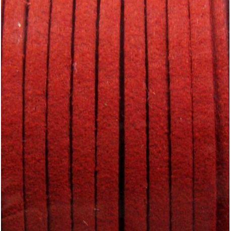 Zomšinė juostelė skirta papuošalų, rankdarbių gamyboje, raudonos spalvos 2,5 mm pločio 1 metras