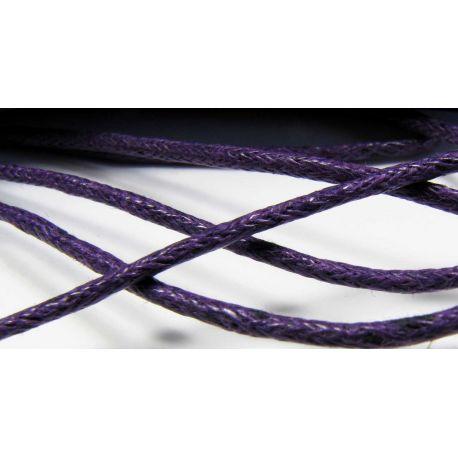 Vaškuota medvilninė rankdarbių virvelė, tamsiai violetinės spalvos 1,5 mm