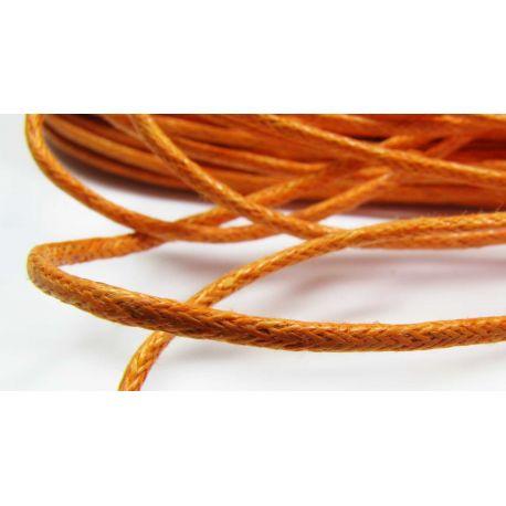 Vaškuota medvilninė rankdarbių virvelė,oranžinės spalvos 1,5 mm