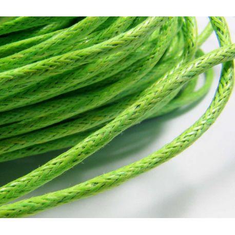 Vaškuota medvilninė rankdarbių virvelė, žalios spalvos 1,5 mm