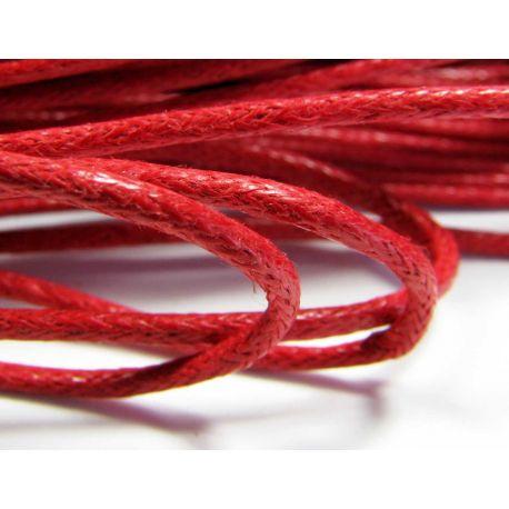 Vaškuota medvilninė rankdarbių virvelė, tamsiai raudonos spalvos 1,5 mm