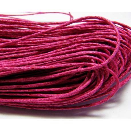 Vaškuota medvilninė rankdarbių virvelė, ryškiai rožinės spalvos 1.00 mm