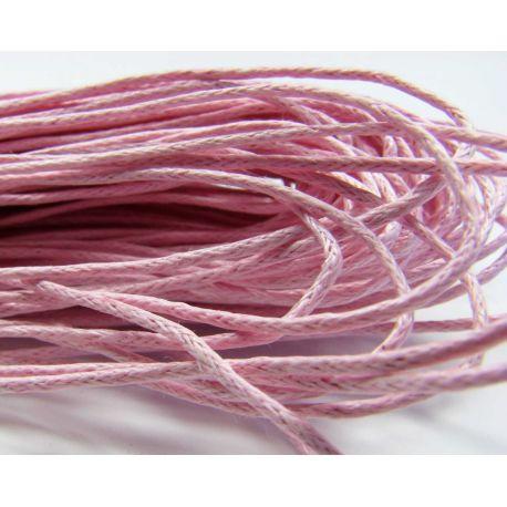 Vaškuota medvilninė rankdarbių virvelė, šviesiai rožinės spalvos 1.00 mm